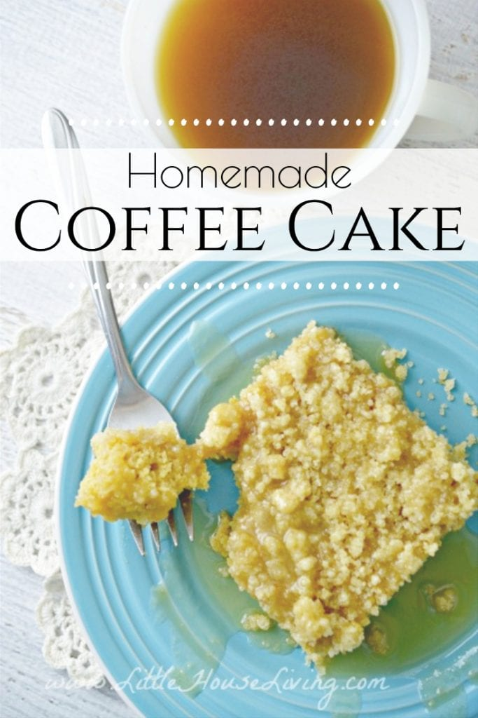 This delicious Coffee Cake Recipe from Scratch is the perfect treat for breakfast! It can be made quickly with a few pantry ingredients, and pairs perfectly with your morning cup of joe. #coffeecake #glutenfree #glutenfreecoffeecake #fromscratch #recipe