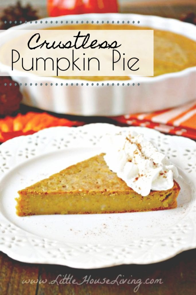 This Crustless Pumpkin Pie Recipe is the perfect fall recipe. It's simple, delicious and gluten free, so everyone around your table can enjoy a slice (or two!) #glutenfree #glutenfreepumpkinpie #pumpkinspice #pumpkinrecipe #crustlesspumpkinpie #pumpkinpie
