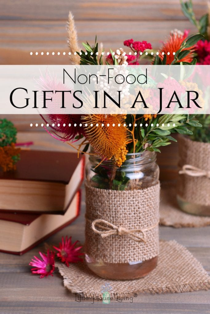 Looking for some different ways to use mason jars? Here are some different ideas on how to use those jars you have laying around to create some fun gifts in a jar that aren't food items.  #masonjars #giftsinjars #simpleChristmas #frugalChristmas #giftideas #masonjargifts