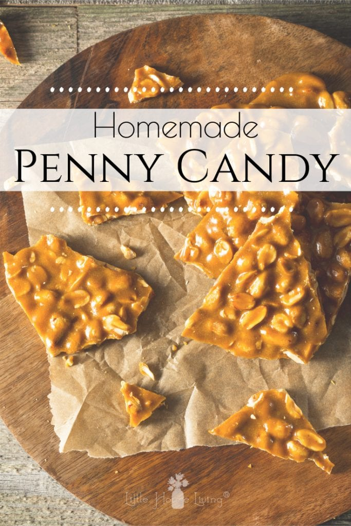Looking for a nostalgic treat to make this Christmas? This old fashioned penny candy is easy, delicious and sure to transport you back to simpler times. #pennycandy #homemadecandy #oldfashionedcandy #christmascandyrecipes #oldfashionedchristmascandy #littlehouseontheprairie