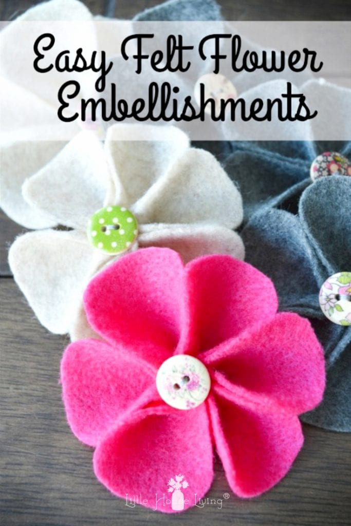 Learn How to Make Felt Flowers with this easy tutorial and pattern. These cute and affordable embellishments add an extra special touch to headbands or clothes and have endless possibilities. #feltflowers #diy #easycrafts #diyfeltflowers