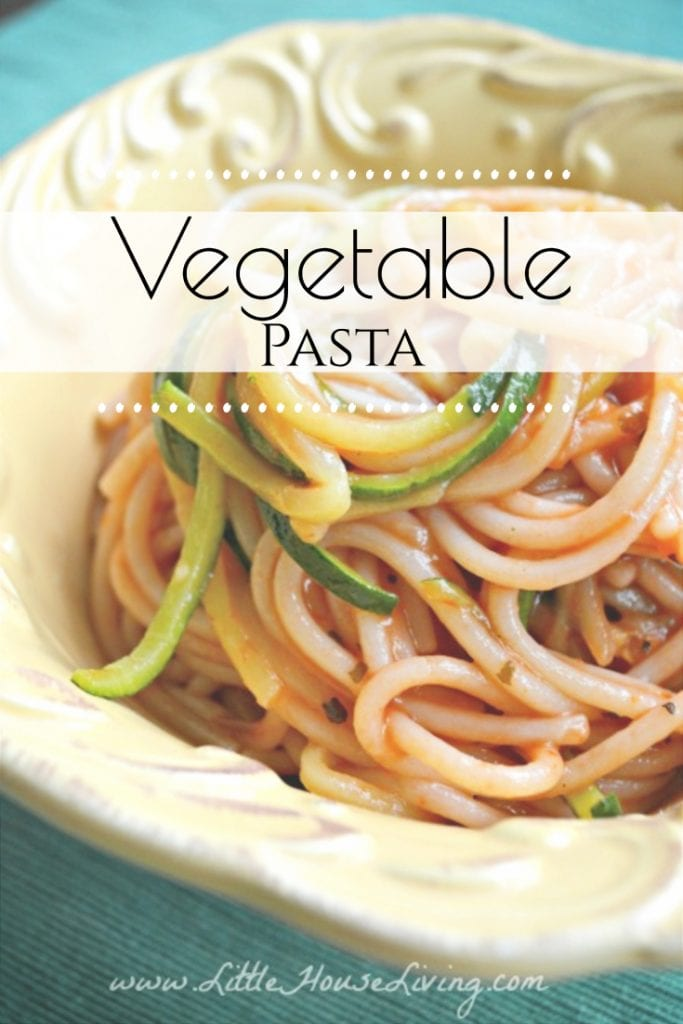 This simple meal is perfect for summer days when vegetables are in abundance. Plus your family will love this simple Vegetable Pasta since they probably won't mind their veggies when they are in noodle form! #homemade #veggienoodles #vegetablepasta #zoodles #pasta #glutenfree