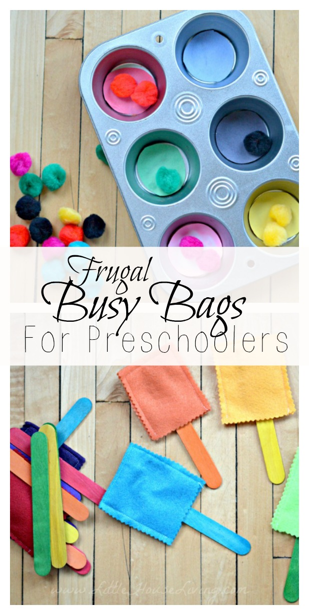 How to make simple, frugal Busy Bags for Preschoolers that will keep your little one busy for hours!