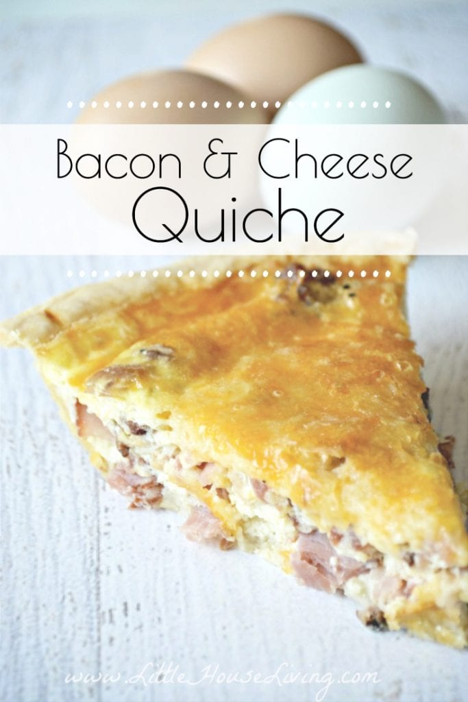 Need a delicious, easy breakfast to make this weekend? Your entire family will love this super simple Cheese and Bacon Quiche recipe! #makeaheadbreakfast #quicherecipe #bacon #easyquiche #simplebreakfastideas