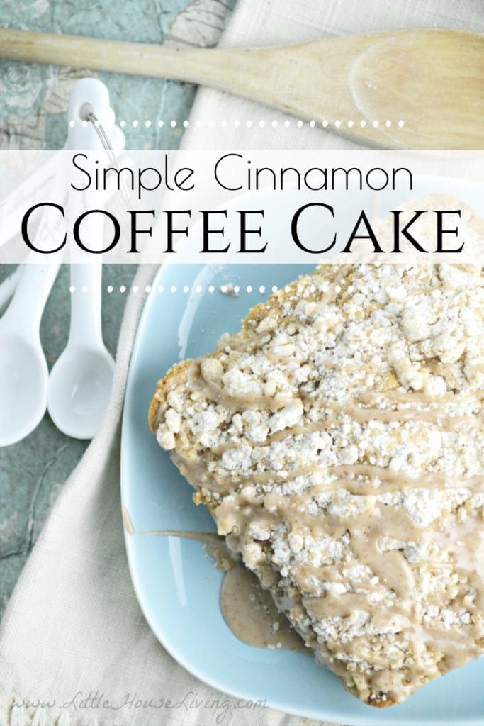 Need an easy breakfast or brunch? Your family will love this easy Cinnamon Coffee Cake recipe that can be made quickly with what you have on hand! #coffeecake #simplecoffeecake #homemadecoffeecake #easycoffeecake #coffeecakerecipe #fromscratch