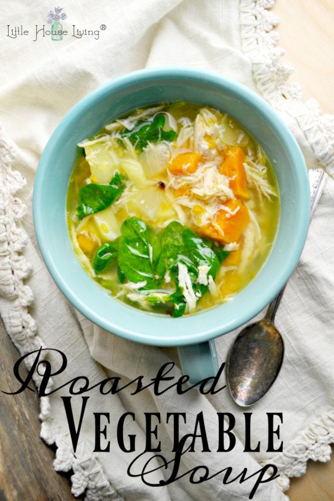 Looking for a delicious, comforting soup recipe that is perfect to make in the winter? This Roasted Vegetable Soup recipe is as easy as any soup recipe can be! #roastedvegetablesoup #vegetablesoup #veggiesoup #souprecipes