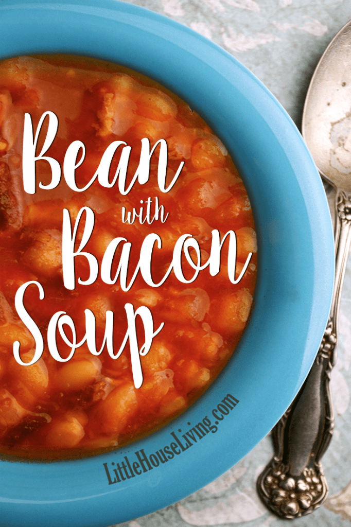 This hearty & affordable bacon with bean soup recipe is perfect for keeping you warm and filling you up on a cold day! #crockpot #slowcooker #soup #beanwithbacon #beanandbaconsoup