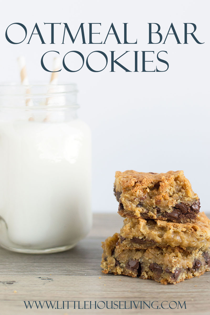 These Oatmeal Cookie Bars are simple to make with basic ingredients. They are the perfect sweet treat for an easy snack or delicious dessert. #dessert #snack #cookiebar #granolabar #oatmealcookie