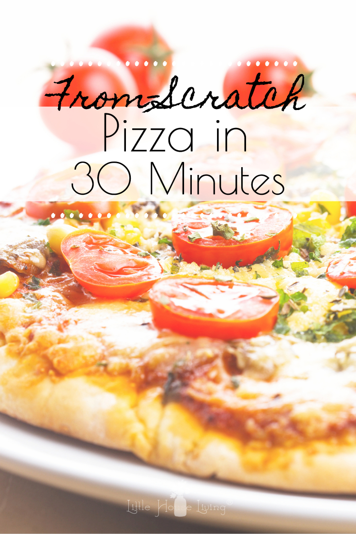 Do you want to get a delicious pizza meal on the table in less than 30 minutes without having to buy a prepared crust? This 30 Minute Pizza is for you! #quickpizzarecipe #30minutepizza