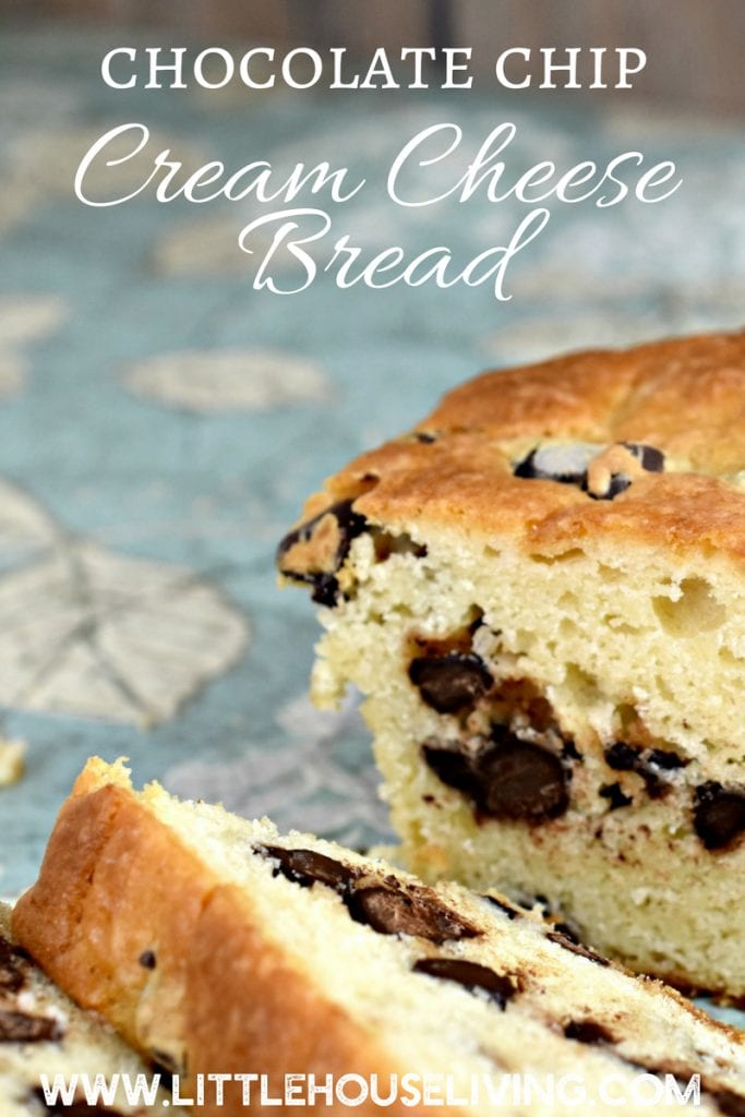 A great recipe for creamy, smooth Chocolate Chip Cream Cheese bread that is a perfect dessert or snacking bread. Easy to make and delicious to eat! #quickbreadrecipes #chocolatechipcreamcheesebread #quickbreads #chocolatechip