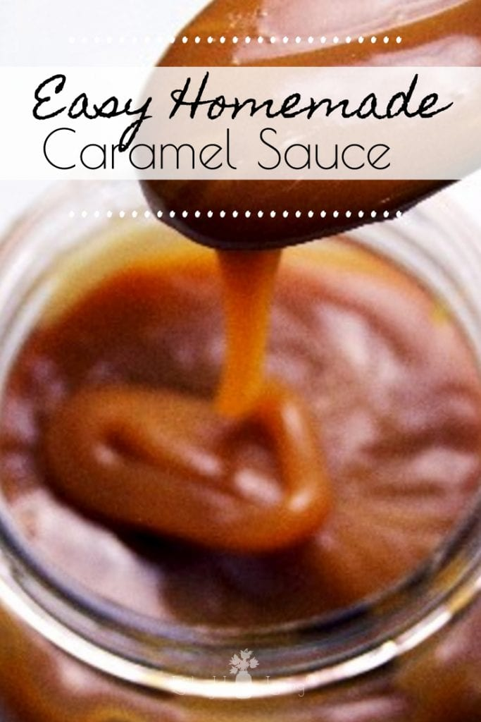 How to make an easy homemade caramel sauce with cream and butter, no corn syrup. Perfect caramel sauce for apples or other dessert toppings. #caramelsauce #diycaramelsauce #homemadecaramelsauce #thickcaramelsauce #glutenfree #easy