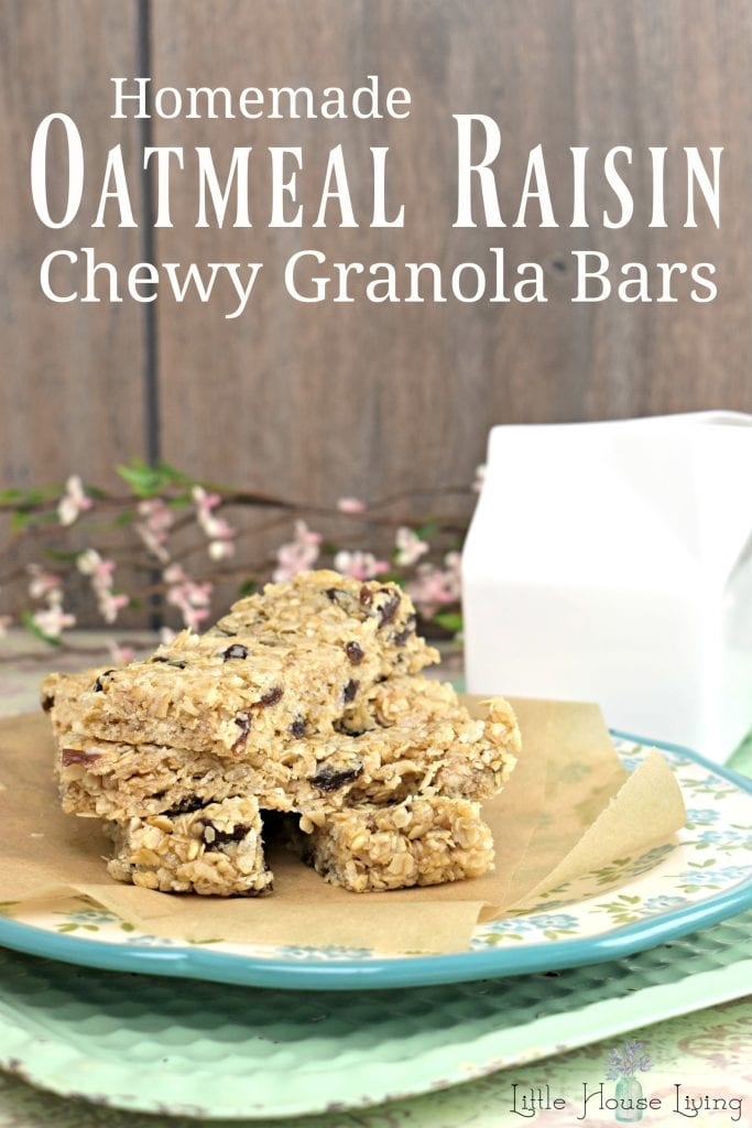 Enjoy making your own homemade chewy granola bars with this Oatmeal Raisin Granola Bars recipe. #oatmealraisingranolabars #chewygranolabars #homemadegranolabars #oatmealraisin #glutenfreegranolabars