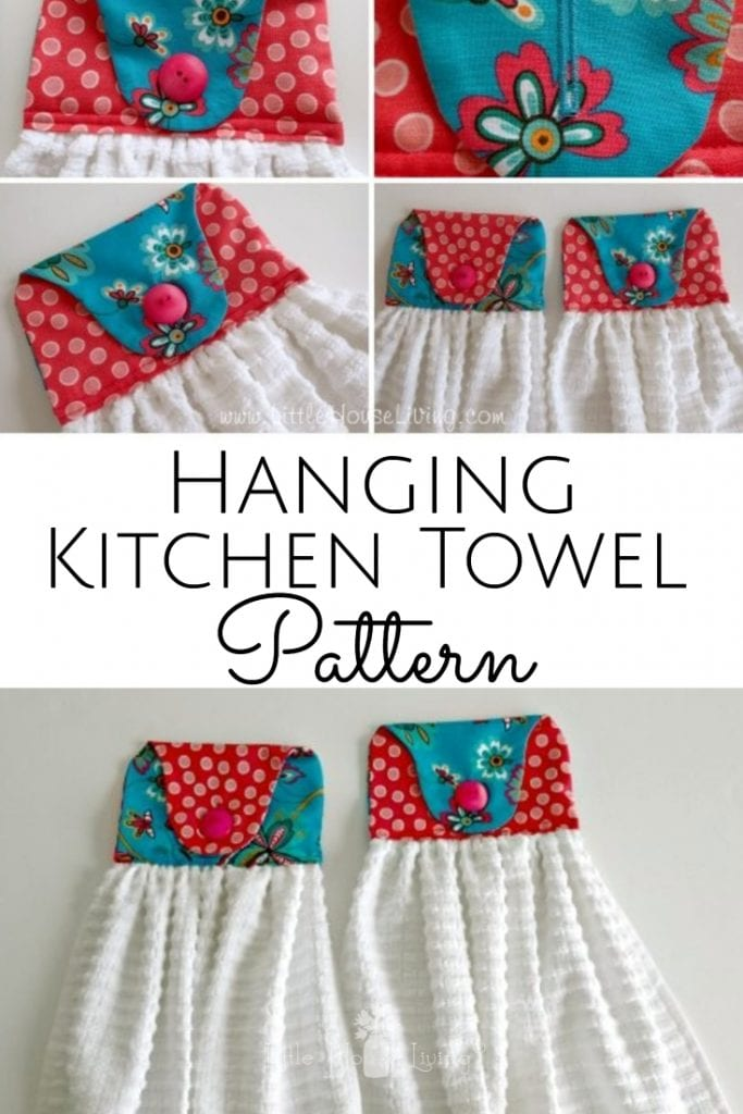 Looking for a simple project that also makes a perfect gift? These Hanging Kitchen Towel Sewing Patterns are easy to sew, easy to customize, and fun to make! #freesewingpattern #handtowel #easysewingproject #hangingkitchentowelpattern #sewyourown #sewingprojects