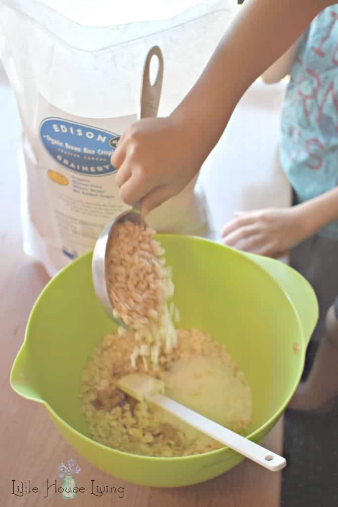 Crispy Rice Cereal in Oatmeal Bites