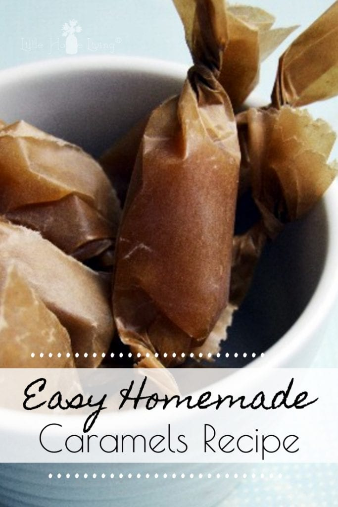 How to make your own Easy Homemade Caramels Recipe at home without any corn syrup or artificial ingredients. These soft caramels are so good! #homemade #homemadecandy #noartificialingredients #caramels #homemadecaramels