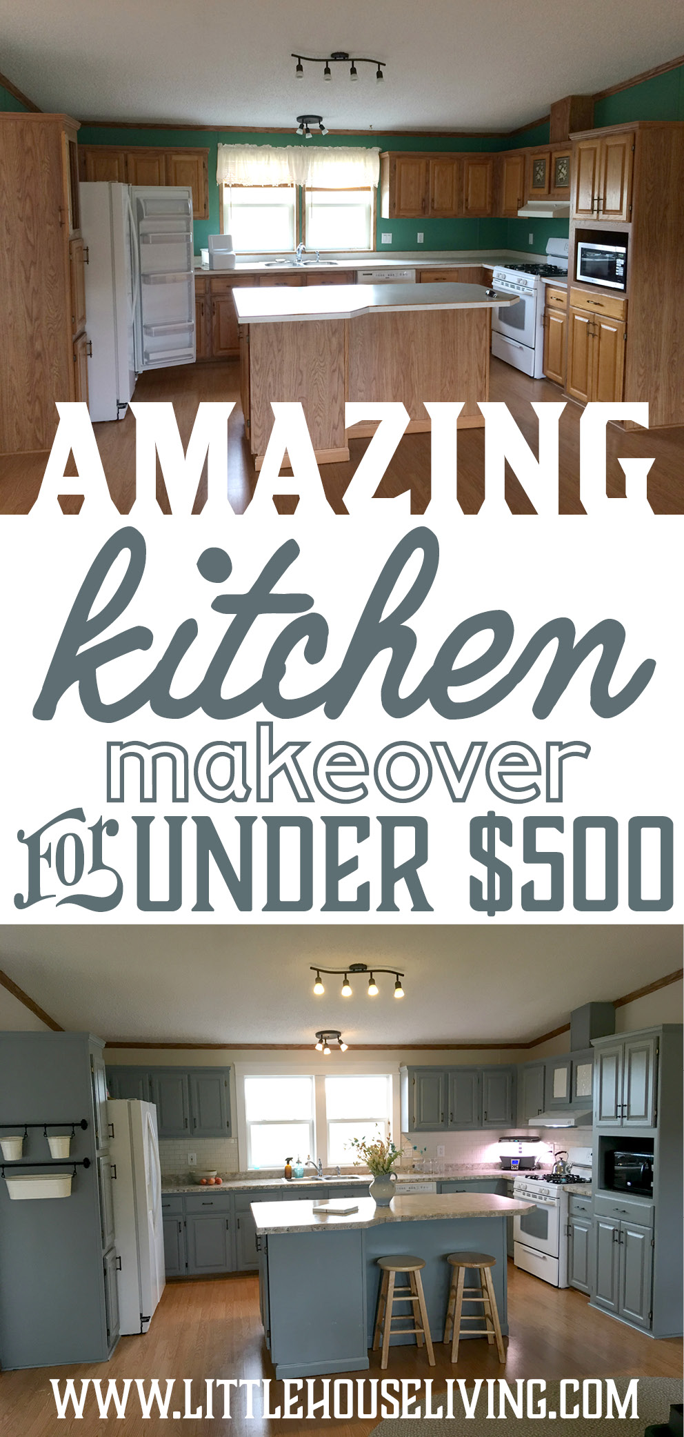 Don't believe that you can makeover your entire kitchen on a budget? This will show you how's it possible to completely revamp your kitchen for less! #farmhousekitchen #kitchenremodel #designonadime #kitchenrenovation #kitchenmakeover #cheapkitchenremodel #inexpensivekitchen
