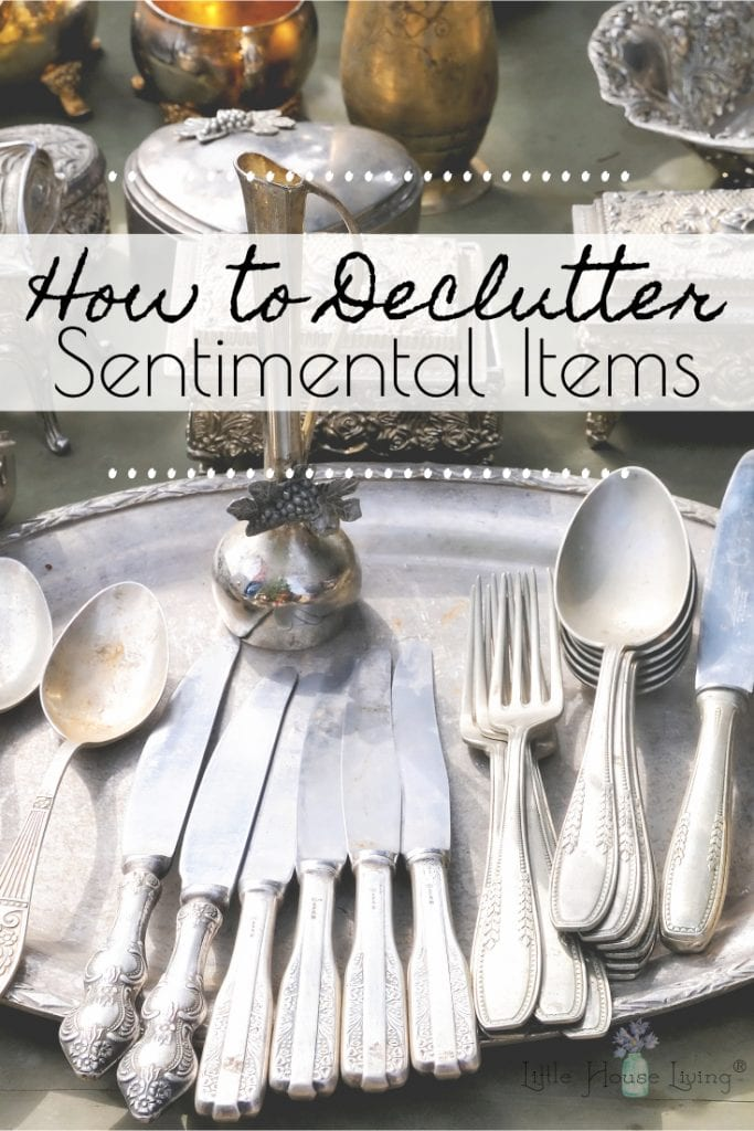 Working on decluttering your home but having a hard time letting go of certain items? This post will help you learn how to declutter sentimental items without losing (much) sleep. #decluttering #minimalism #minimalist #declutter #cleanout #organization #howtodeclutter #sentimental