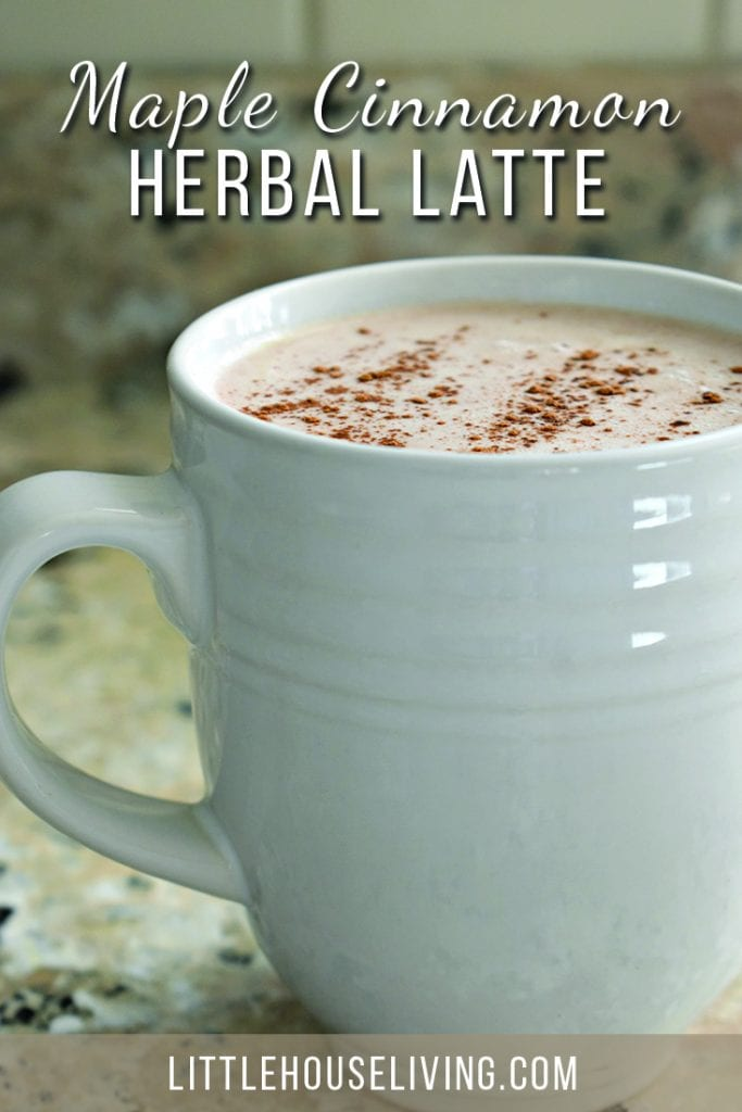 Create a delicious warm latte at home this winter using maple, cinnamon, and herbal tea! #herballatte #herbaltea #tearecipe #herballatterecipe