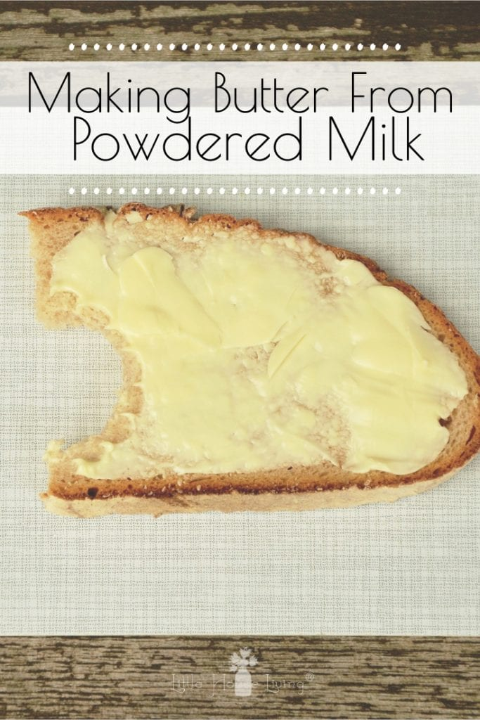 Learn how to make butter from powdered milk and you'll be able to whip up some homemade butter from your dried food storage whenever you need it! #foodstorage #homemadebutter #powderedmilkrecipes