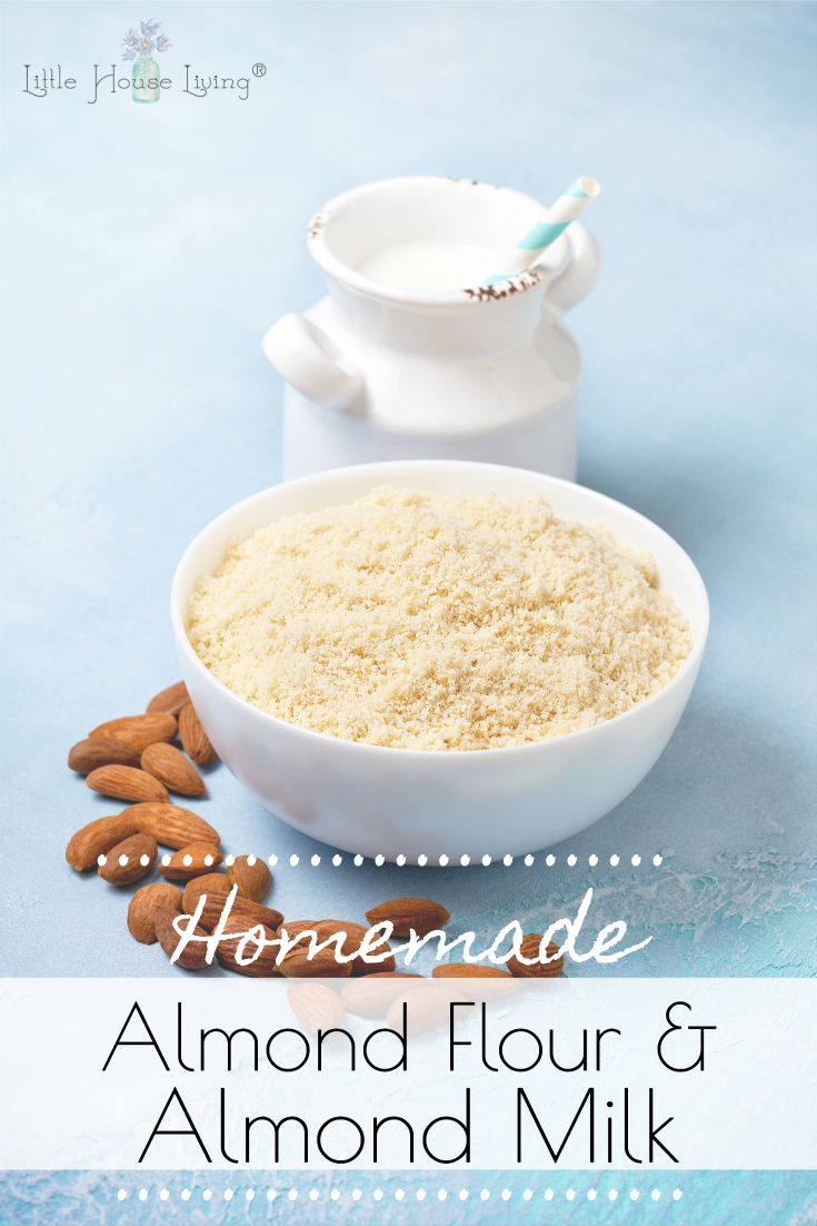 Learn how to Make Almond Flour and Homemade Almond Milk in just a few easy steps to save money on your gluten free, grain free baking and recipes. #diy #homemadealmondmilk #homemadealmondflour #makeyourown #glutenfree #grainfree #dairyfree
