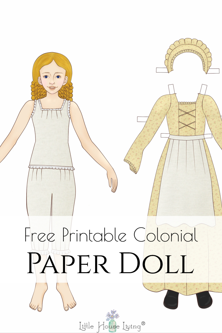 Looking for a sweet little doll for your little ones to print at home and play with? This printable paper doll is in the colonial style and is so cute!
