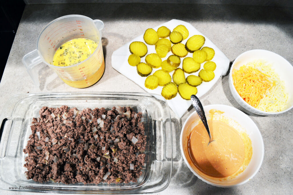 Ingredients for Cheeseburger Casserole