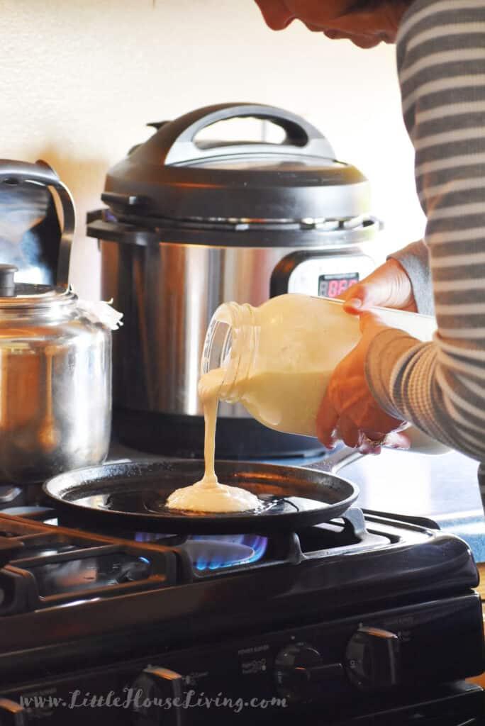 Pour Sourdough Discard on Pan